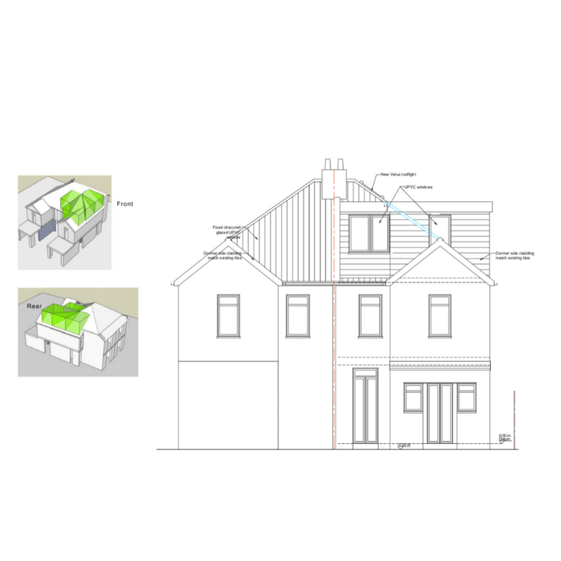 Loft Conversion in Worcester Park-architectural drawings